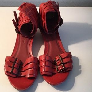 Red low wedge sandals